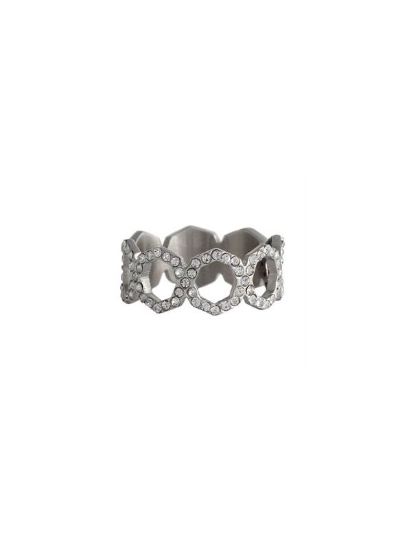 Silver with Crystals Octagonal Ring - Size 9